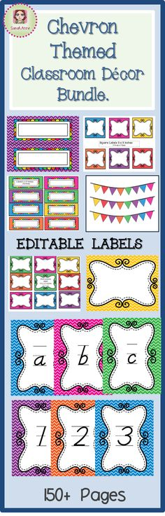 EDITABLE 150 pages worth of classroom labels.  EDITABLE Classroom Decor Chevron Themed - Very bright and cheerful! .Over 150 Pages of Editable Classroom Decor & Labels. Chevron Theme. ABC posters, bunting, Numbers 1-50 posters, bunting, name plates. book labels, book box labels and more!! #classroomdecoration #classroomdecor #labels #chevron #tpt #sarahanne #editable #editablelabels #classroomlabels #abc #123
