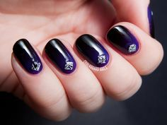 Moody Purple Gradient with Splatter Studs by @chalkboardnails ( I have these studs...now I know what to do with them!)