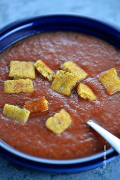 Tomato Basil Soup with Cornbread Croutons Recipe from @addapinch | Robyn Stone | Robyn Stone