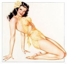 Pin up | Love the yellow against the pale skin & black hair w/red lips.