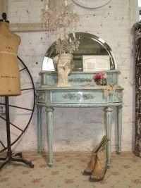 Painted Cottage Chic Shabby Aqua Romantic Vanity
