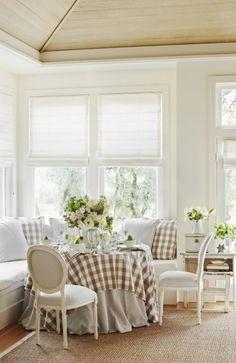 Pretty breakfast nook decor, dine, breakfast nooks, hous, breakfast area, wood ceilings, banquett, buffalo check, dream cottage