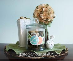 Glass Jar Stencil Art Tutorial #crafts #DIY