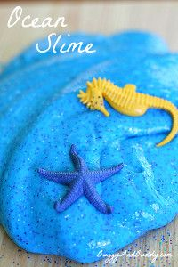 Sparkly Ocean Slime Recipe- I always love homemade slime and homemade playdough, but this one is perfect for summer!