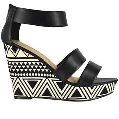 Chinese Laundry Aztec patterned peep toe ankle strap platform in black and white.