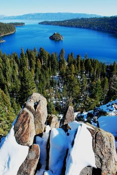 Emerald Bay in the winter time at Lake Tahoe, California