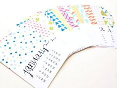 """2014 Monthly Desk Calendar - Bold, Modern, Colorful Designs - 5"""" x 7"""" On Matte Cardstock. Perfect for Holiday, Christmas Gift, New Years by ChristineMarieB on Etsy. $15"""