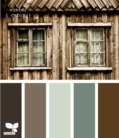 Thinking of this palette for the house exterior. Maybe a slightly lighter grey for the main color. Brown for the wood slats and the darker blue for the door.