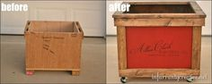 Turn a shipping crate into an adorable vintage looking toy box!