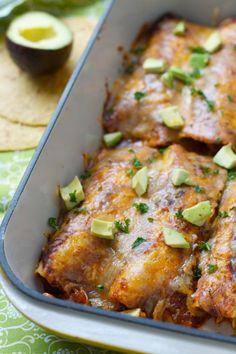 Easy Chicken Enchiladas via The Baker Chick
