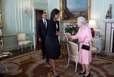 U.S. President Barack Obama and First Lady Michelle Obama are welcomed by Her Majesty Queen Elizabeth II to Buckingham Palace on April 1, 2009.