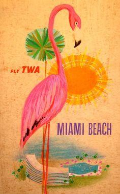 vintage posters, beaches, travel photos, pink flamingos, miami beach, florida, art, travel tips, vintage travel posters