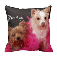 Cute Dogs with Feather Boas Glam it Up Pillows