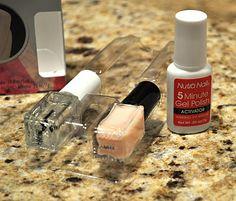 CHEAP version of shellac- No more chipped nails: (1) Apply 1 thin coat of 5 Minute Gel Polish. (2) Apply 1 coat of Essie's 3 Way Glaze base coat. (3) Apply 2 coats of polish. (4) Finish with a coat of 3 Way Glaze.