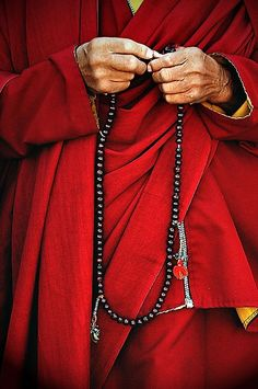 tibet monk - prayer beads