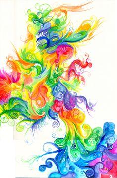 draw, color design, artworks, backgrounds, rainbows, irises, beauty, swirls, rainbow colors