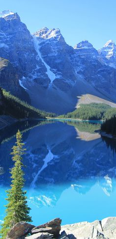 Moraine Lake is a glacially-fed lake in Banff National Park ~ outside the Village of Lake Louise, Alberta, Canada.