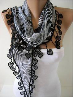 New Elegant Scarf  Cotton Scarf with Trim Edge Gift by MebaDesign, $13.90