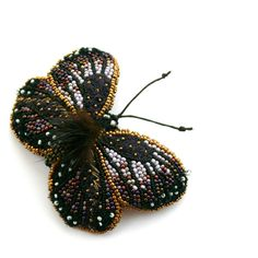 Bead embroidery brooch butterfly