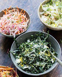 Tuscan Kale Caesar Slaw & Celery, Apple, and Fennel Slaw