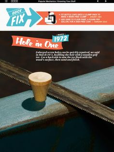 Fill oversize screw holes with a golf tee!