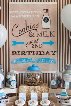 Milk and Cookies 2nd Birthday Party - Kara's Party Ideas - The Place for All Things Party