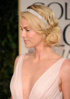charlize theron, bridesmaid hair, headband, headpiec, prom hair, goddess, wedding hairstyles, art deco, finger waves