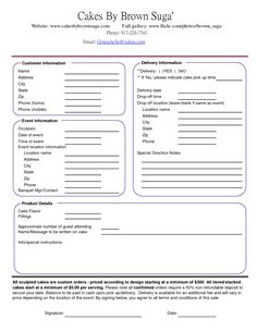cake order contract   Banquet Event Order Form... great info for when I make my own