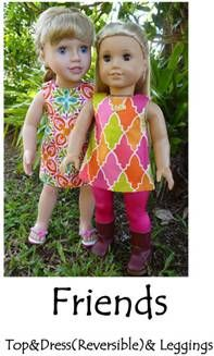 "Sewing Pattern- Doll Clothes: ""Friends"" leggings and reversible, sleeveless, A-line dress or top for 18"" dolls, by Rockhopper on fabricpatch.com.au. #18_inch_doll #american_girl"