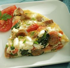 #Recipe: Spinach, Chive & Feta Egg-White Frittata with Country Style Chicken Sausage