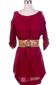 289993 Maroon Peek A Boo Dress  $34.95  Size: Small, Medium, Large  www.giddyupglamou...