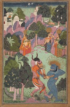 Demons Fighting Over an Animal Limb, late 17th century. India. The Metropolitan Museum of Art, New York. Gift of Doris Rubin, in memory of Harry Rubin, 1989 (1989.236.3) | In this painting, set in a fantastic landscape with rocks, trees and a cityscape in the distance, two fearsome demons are seen quarreling over the leg of an animal.
