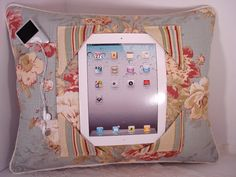 Shabby Chic iPad Pillow to craddle your iPad - Cotton Linen on Etsy, $59.00