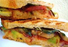 Hot 'N Crusty Farmers Market Panini with Tangy Balsamic Grilled Eggplant, Tomatoes, Avocado, and Garlic White Bean Puree #vegan #healthy