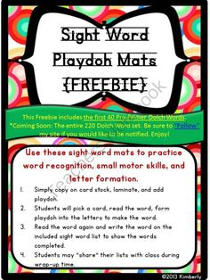 FREEBIE Sight Word Playdoh Work Mats:Dolch Pre-Primer Words (40 Words)  from By Kimberly on TeachersNotebook.com (23 pages)  - FREEBIE Sight Word Playdoh Work Mats:Dolch Pre-Primer Words (40 Words)   Use these sight word mats to practice sight word recognition, small motor skills, and letter formation. Add playdoh to this set and you'll have a fun, simple, and effective work stat