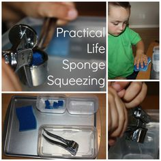 Practical Life Skills: Sponge Squeezing with Garlic Press from Little Bins for Little Hands