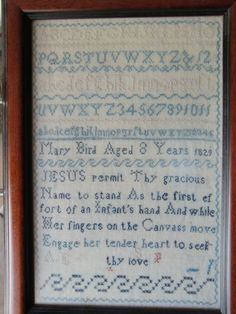 1829 Vintage English Sampler  Antique Sampler Early