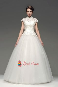 High Neck Floor Length Ball Gown Lace Wedding Dress With Short Sleeves