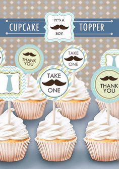 cupcak topper, cowboy birthday, birthday parties, party printables, free printabl, mustach parti, cupcake toppers