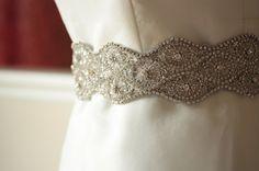 Vintage Scroll Sash - Handmade large rhinestone bridal sash or belt