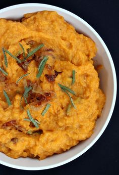 Mashed Sweet Potatoes with Caramelized Onions, Brie and Sage | Recipegirl.com