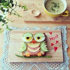Several creative food ideas from batman to minions :) art comestivel, owl lunch, owl food, edibl art, sandwiches, owl plate, owl sandwich, food art, owls