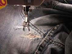 Essential blue jean mending method--Tutorial!