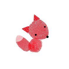 fingerprint art, art crafts, idea, thumb prints, fingerprint fox, art kids, foxes, diy, red fox