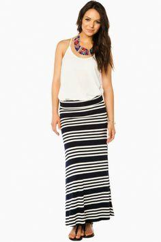 Stripeflow Maxi Skirt