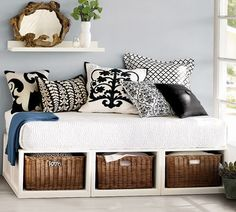 This would make a great daybed/guest bed for my study, but I would use a twin mattress to make it more user friendly. Love the storage underneath for all my work stuff and the comfy place to sit while brainstorming.