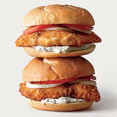 Breaded Fish Sandwiches with Mint-Caper Tartar Sauce | MyRecipes.com