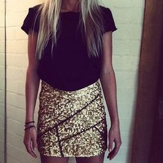 gold sequin skirt, outfit, pencil skirts