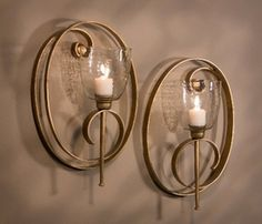 ME3008 - Antique Gold Oval Scroll Iron Candle Wall Sconce, Set of 2 - Candle Holders