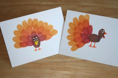 thanksgiving crafts, thumb prints, place cards, fingerprint turkey, ink pads
